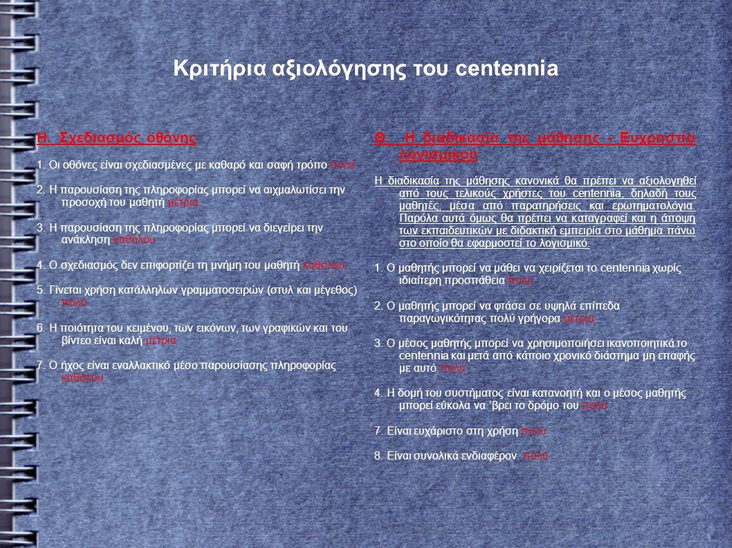 Κριτήρια αξιολόγησης του centennia Η. Σχεδιασμός οθόνης 1.