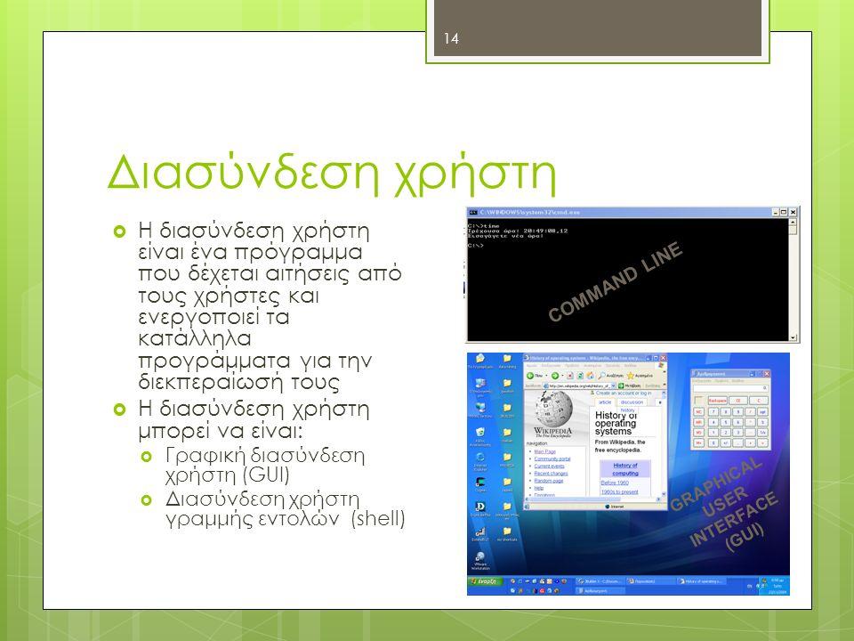 Διασύνδεση χρήστη 14  Η διασύνδεση χρήστη είναι ένα πρόγραμμα που δέχεται αιτήσεις από τους χρήστες και ενεργοποιεί τα κατάλληλα προγράμματα για την