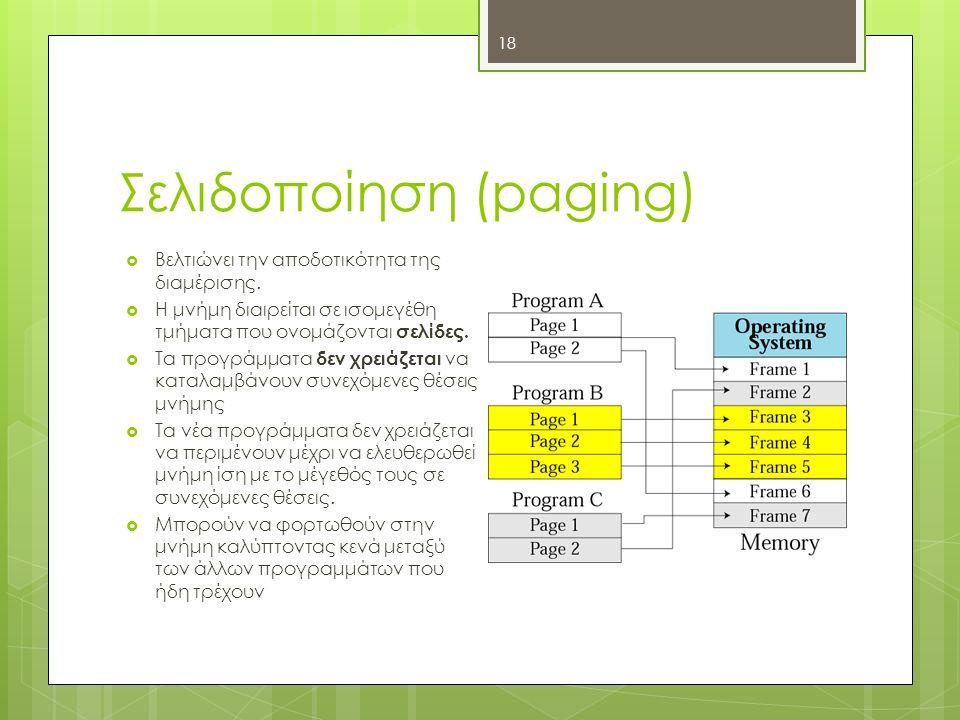 Σελιδοποίηση (paging) 18  Βελτιώνει την αποδοτικότητα της διαμέρισης.  Η μνήμη διαιρείται σε ισομεγέθη τμήματα που ονομάζονται σελίδες.  Τα προγράμ