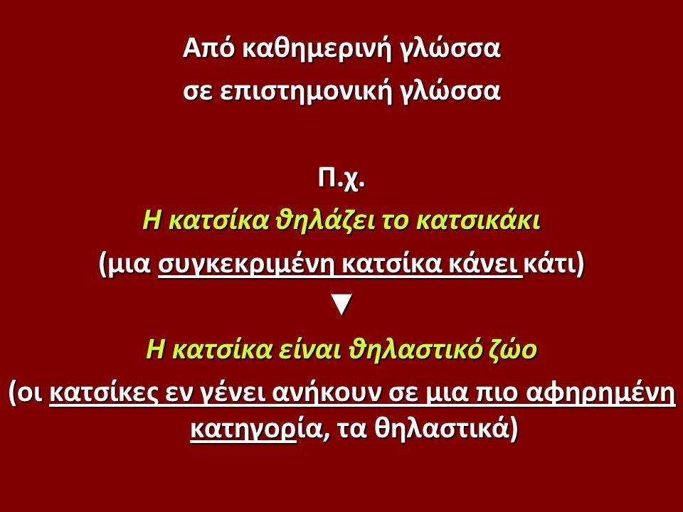 Από καθημερινή γλώσσα σε επιστημονική γλώσσα Π.χ.