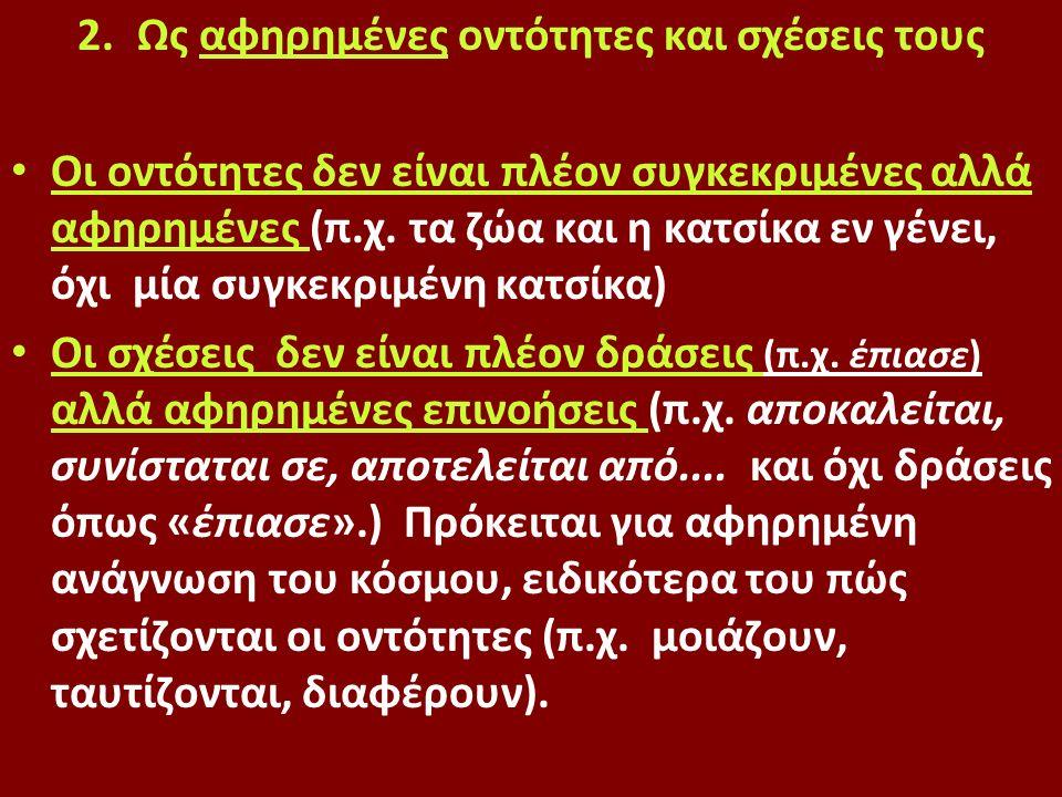 2.Ως αφηρημένες οντότητες και σχέσεις τους Οι οντότητες δεν είναι πλέον συγκεκριμένες αλλά αφηρημένες (π.χ.