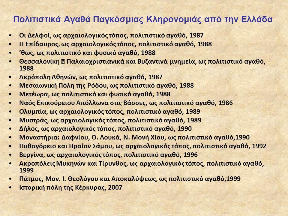 Πολιτιστικά Αγαθά Παγκόσμιας Κληρονομιάς από την Ελλάδα Οι Δελφοί, ως αρχαιολογικός τόπος, πολιτιστικό αγαθό, 1987 Η Επίδαυρος, ως αρχαιολογικός τόπος, πολιτιστικό αγαθό, 1988 'θως, ως πολιτιστικό και φυσικό αγαθό, 1988 Θεσσαλονίκη – Παλαιοχριστιανικά και Βυζαντινά μνημεία, ως πολιτιστικό αγαθό, 1988 Ακρόπολη Αθηνών, ως πολιτιστικό αγαθό, 1987 Μεσαιωνική Πόλη της Ρόδου, ως πολιτιστικό αγαθό, 1988 Μετέωρα, ως πολιτιστικό και φυσικό αγαθό, 1988 Ναός Επικούρειου Απόλλωνα στις Βάσσες, ως πολιτιστικό αγαθό, 1986 Ολυμπία, ως αρχαιολογικός τόπος, πολιτιστικό αγαθό, 1989 Μυστράς, ως αρχαιολογικός τόπος, πολιτιστικό αγαθό, 1989 Δήλος, ως αρχαιολογικός τόπος, πολιτιστικό αγαθό, 1990 Μοναστήρια: Δαφνίου, Ο.