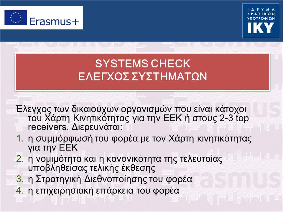SYSTEMS CHECK ΕΛΕΓΧΟΣ ΣΥΣΤΗΜΑΤΩΝ Έλεγχος των δικαιούχων οργανισμών που είναι κάτοχοι του Χάρτη Κινητικότητας για την ΕΕΚ ή στους 2-3 top receivers. Δι