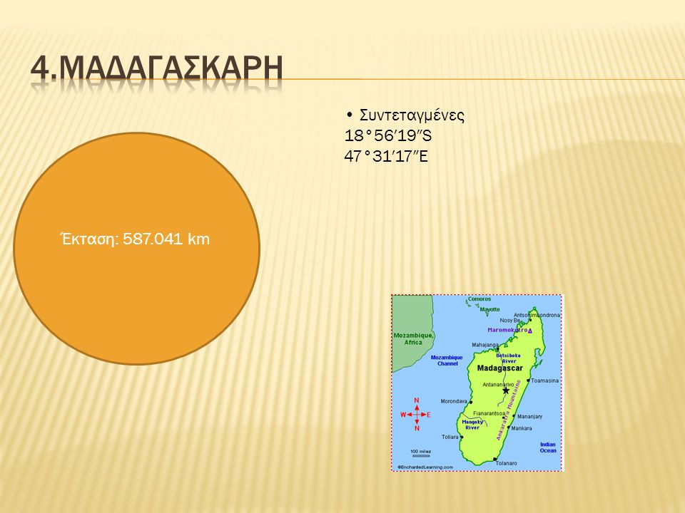 Έκταση: 587.041 km Συντεταγμένες 18°56′19″S 47°31′17″E