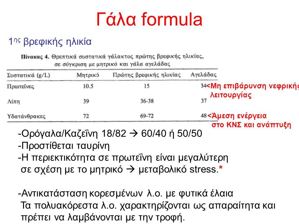 1 ης βρεφικής ηλικία <Μη επιβάρυνση νεφρικής λειτουργίας <Άμεση ενέργεια στο ΚΝΣ και ανάπτυξη -Ορόγαλα/Καζεΐνη 18/82  60/40 ή 50/50 -Προστίθεται ταυρίνη -Η περιεκτικότητα σε πρωτεΐνη είναι μεγαλύτερη σε σχέση με το μητρικό  μεταβολικό stress.* -Αντικατάσταση κορεσμένων λ.ο.