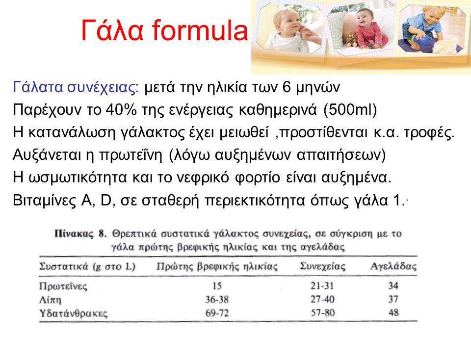 Γάλα formula Γάλατα συνέχειας: μετά την ηλικία των 6 μηνών Παρέχουν το 40% της ενέργειας καθημερινά (500ml) Η κατανάλωση γάλακτος έχει μειωθεί,προστίθ