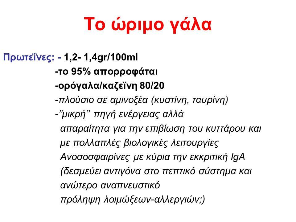 Το ώριμο γάλα Πρωτεΐνες: - 1,2- 1,4gr/100ml -το 95% απορροφάται -ορόγαλα/καζεϊνη 80/20 -πλούσιο σε αμινοξέα (κυστίνη, ταυρίνη) -''μικρή'' πηγή ενέργειας αλλά απαραίτητα για την επιβίωση του κυττάρου και με πολλαπλές βιολογικές λειτουργίες Ανοσοσφαιρίνες με κύρια την εκκριτική IgA (δεσμεύει αντιγόνα στο πεπτικό σύστημα και ανώτερο αναπνευστικό πρόληψη λοιμώξεων-αλλεργιών;)