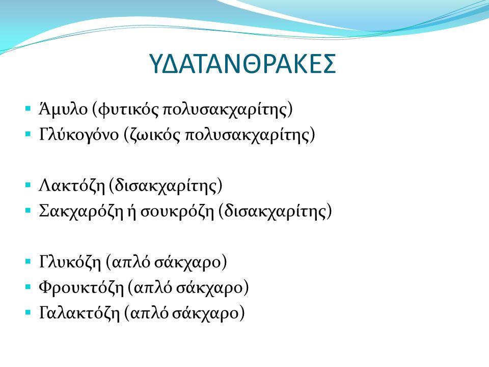 ΥΔΑΤΑΝΘΡΑΚΕΣ  Άμυλο (φυτικός πολυσακχαρίτης)  Γλύκογόνο (ζωικός πολυσακχαρίτης)  Λακτόζη (δισακχαρίτης)  Σακχαρόζη ή σουκρόζη (δισακχαρίτης)  Γλυκόζη (απλό σάκχαρο)  Φρουκτόζη (απλό σάκχαρο)  Γαλακτόζη (απλό σάκχαρο)