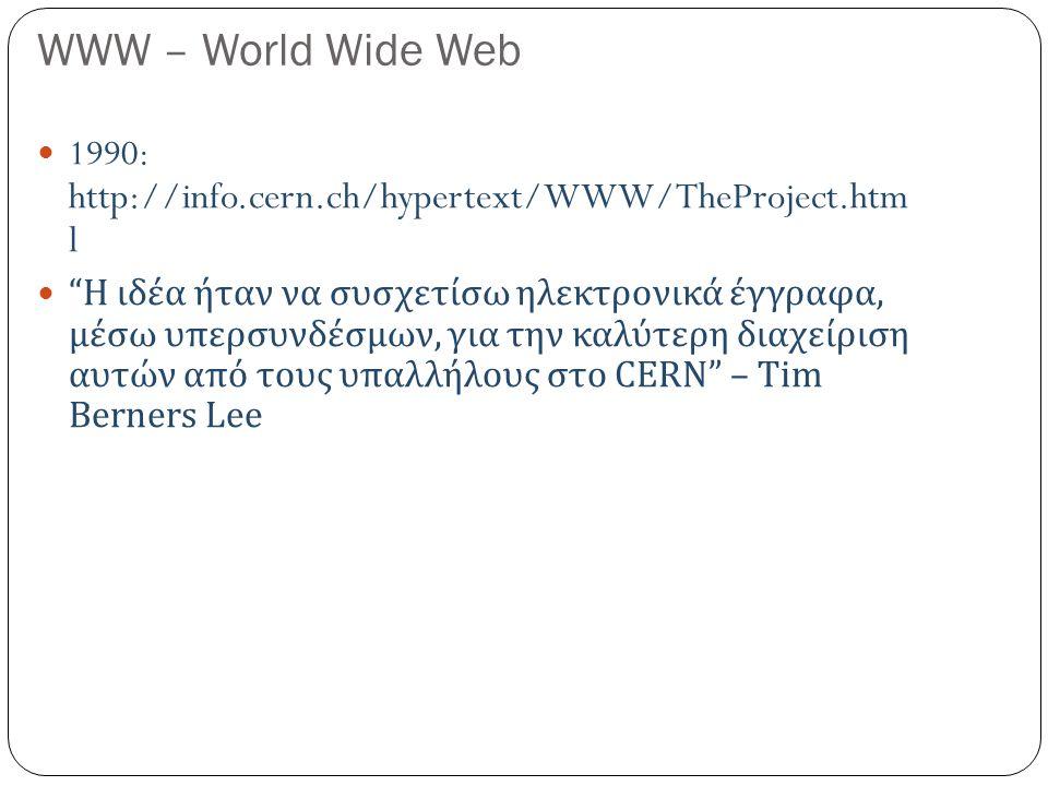 WWW – World Wide Web 1990: http://info.cern.ch/hypertext/WWW/TheProject.htm l Η ιδέα ήταν να συσχετίσω ηλεκτρονικά έγγραφα, μέσω υπερσυνδέσμων, για την καλύτερη διαχείριση αυτών από τους υπαλλήλους στο CERN – Tim Berners Lee