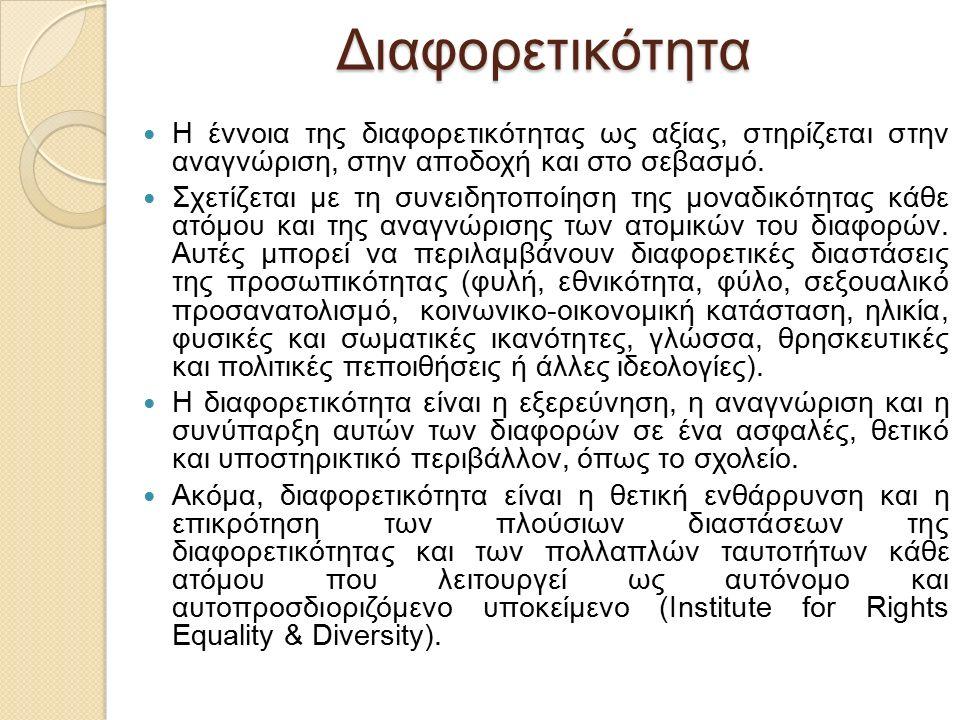 Διαφορετικότητα Η έννοια της διαφορετικότητας ως αξίας, στηρίζεται στην αναγνώριση, στην αποδοχή και στο σεβασμό.