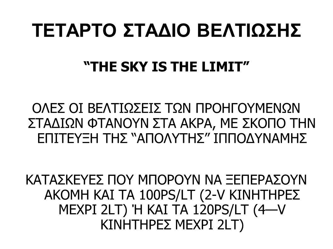 """ΤΕΤΑΡΤΟ ΣΤΑΔΙΟ ΒΕΛΤΙΩΣΗΣ """"THE SKY IS THE LIMIT"""" ΟΛΕΣ ΟΙ ΒΕΛΤΙΩΣΕΙΣ ΤΩΝ ΠΡΟΗΓΟΥΜΕΝΩΝ ΣΤΑΔΙΩΝ ΦΤΑΝΟΥΝ ΣΤΑ ΑΚΡΑ, ΜΕ ΣΚΟΠΟ ΤΗΝ ΕΠΙΤΕΥΞΗ ΤΗΣ """"ΑΠΟΛΥΤΗΣ"""" ΙΠΠ"""