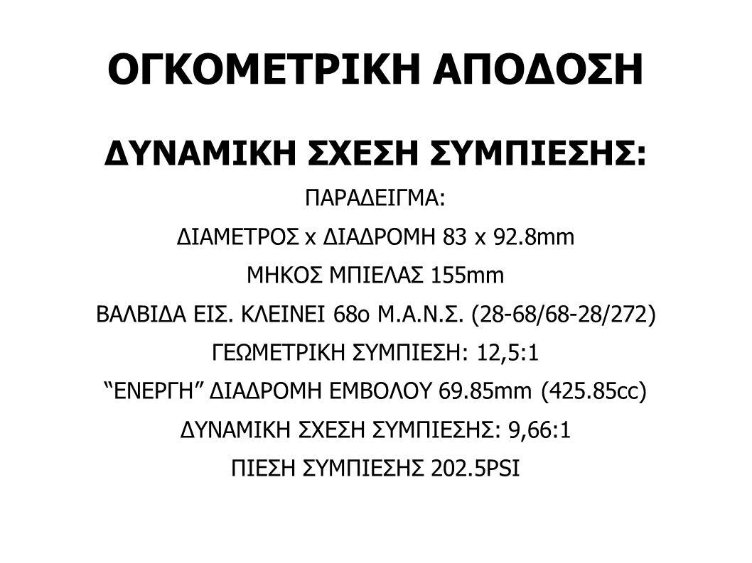 ΟΓΚΟΜΕΤΡΙΚΗ ΑΠΟΔΟΣΗ ΔΥΝΑΜΙΚΗ ΣΧΕΣΗ ΣΥΜΠΙΕΣΗΣ: ΠΑΡΑΔΕΙΓΜΑ: ΔΙΑΜΕΤΡΟΣ x ΔΙΑΔΡΟΜΗ 83 x 92.8mm ΜΗΚΟΣ ΜΠΙΕΛΑΣ 155mm ΒΑΛΒΙΔΑ ΕΙΣ. ΚΛΕΙΝΕΙ 68ο Μ.Α.Ν.Σ. (28-6