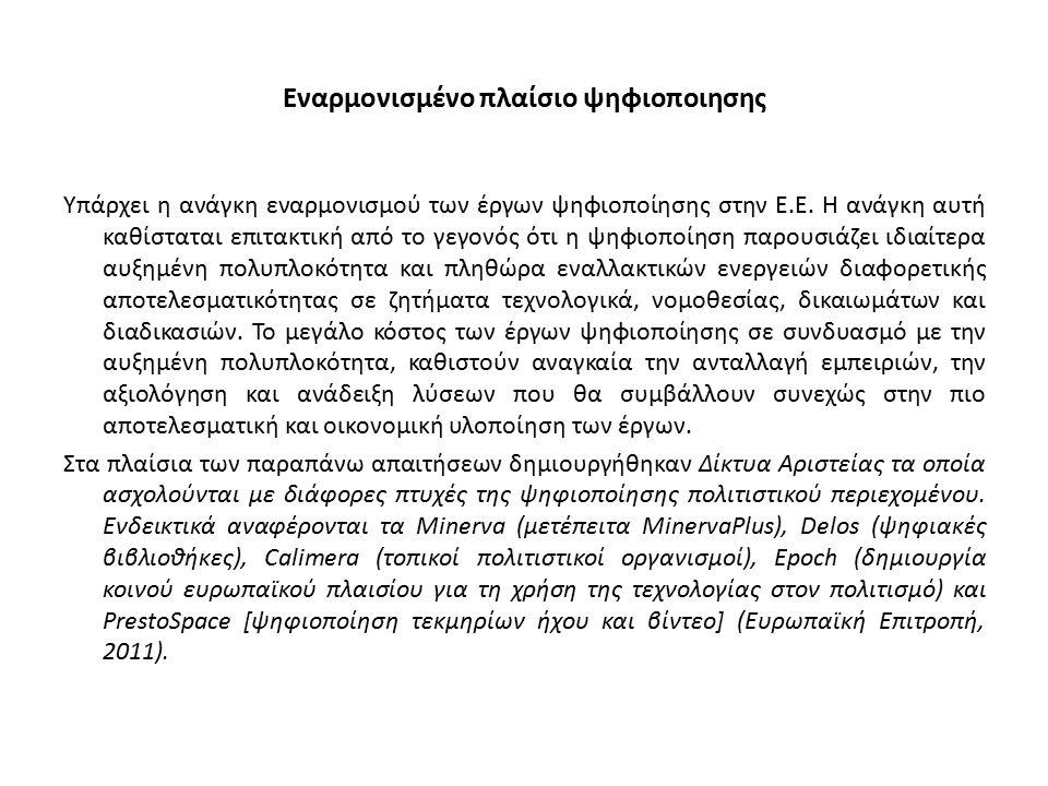 Εναρμονισμένο πλαίσιο ψηφιοποιησης Υπάρχει η ανάγκη εναρμονισμού των έργων ψηφιοποίησης στην Ε.Ε.