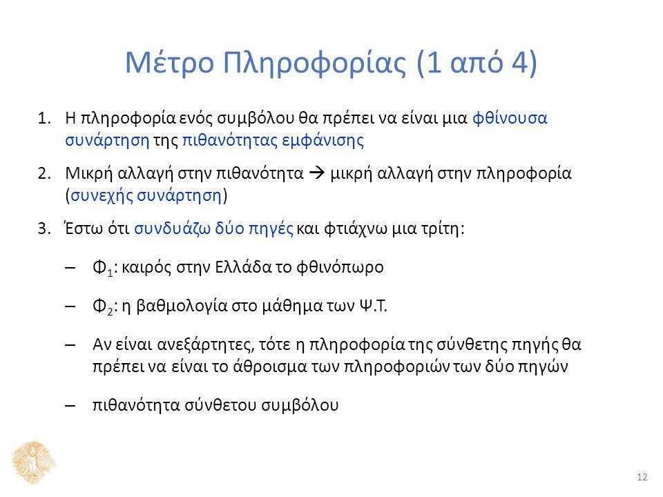 12 Μέτρο Πληροφορίας (1 από 4) 1.Η πληροφορία ενός συμβόλου θα πρέπει να είναι μια φθίνουσα συνάρτηση της πιθανότητας εμφάνισης 2.Μικρή αλλαγή στην πιθανότητα  μικρή αλλαγή στην πληροφορία (συνεχής συνάρτηση) 3.Έστω ότι συνδυάζω δύο πηγές και φτιάχνω μια τρίτη: – Φ 1 : καιρός στην Ελλάδα το φθινόπωρο – Φ 2 : η βαθμολογία στο μάθημα των Ψ.Τ.