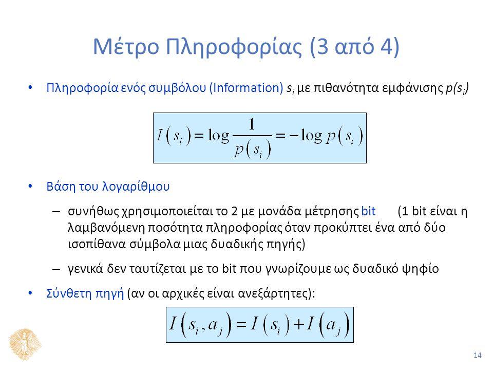 14 Μέτρο Πληροφορίας (3 από 4) Πληροφορία ενός συμβόλου (Information) s i με πιθανότητα εμφάνισης p(s i ) Βάση του λογαρίθμου – συνήθως χρησιμοποιείται το 2 με μονάδα μέτρησης bit (1 bit είναι η λαμβανόμενη ποσότητα πληροφορίας όταν προκύπτει ένα από δύο ισοπίθανα σύμβολα μιας δυαδικής πηγής) – γενικά δεν ταυτίζεται με το bit που γνωρίζουμε ως δυαδικό ψηφίο Σύνθετη πηγή (αν οι αρχικές είναι ανεξάρτητες):