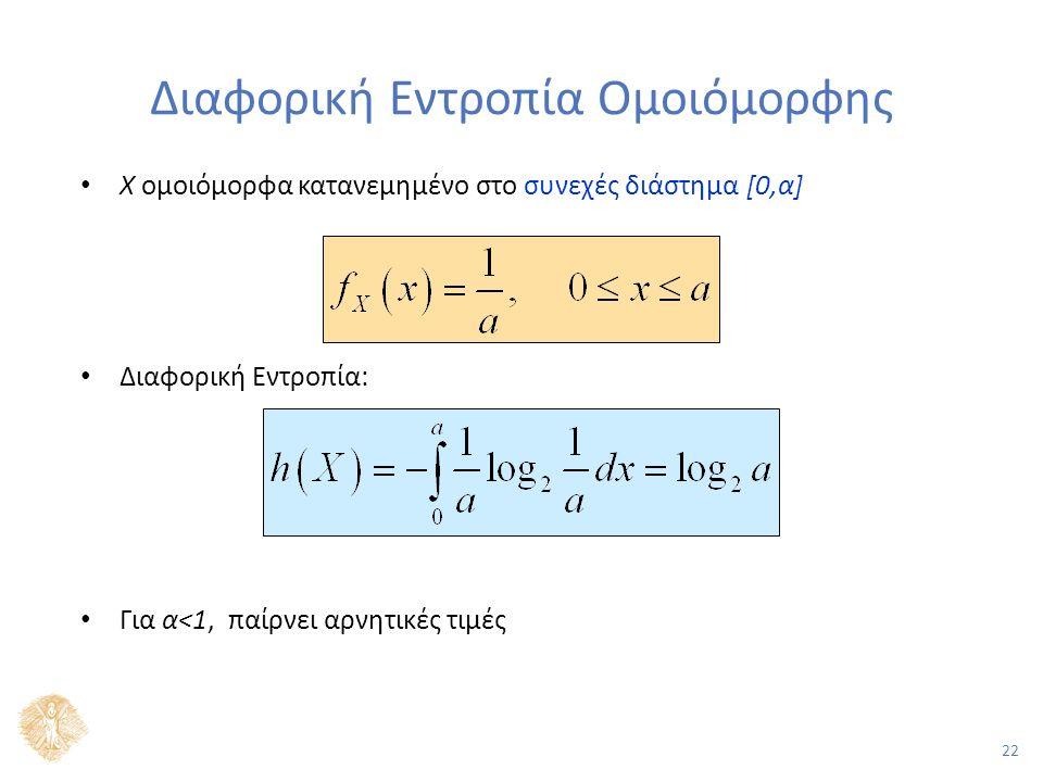 22 Διαφορική Εντροπία Ομοιόμορφης Χ ομοιόμορφα κατανεμημένο στο συνεχές διάστημα [0,α] Διαφορική Εντροπία: Για α<1, παίρνει αρνητικές τιμές