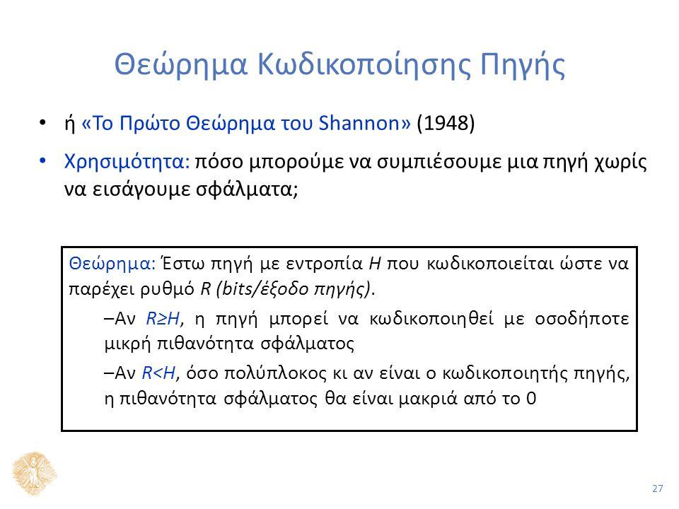 27 Θεώρημα Κωδικοποίησης Πηγής ή «Το Πρώτο Θεώρημα του Shannon» (1948) Χρησιμότητα: πόσο μπορούμε να συμπιέσουμε μια πηγή χωρίς να εισάγουμε σφάλματα; Θεώρημα: Έστω πηγή με εντροπία H που κωδικοποιείται ώστε να παρέχει ρυθμό R (bits/έξοδο πηγής).