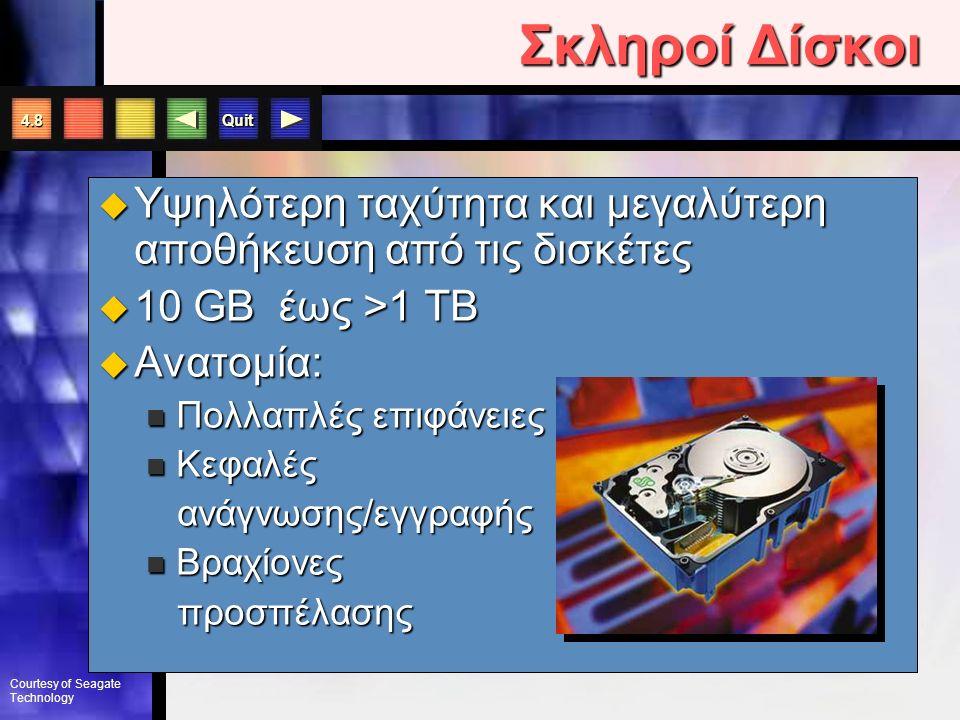 "Quit Η Δισκέτα  3.5"" Floppy: 1.44 MB  SuperDisk: 120 MB  HiFD disk: 200 MB  Zip Disk: 100 or 250 MB Χωρητικότητα δισκετών"