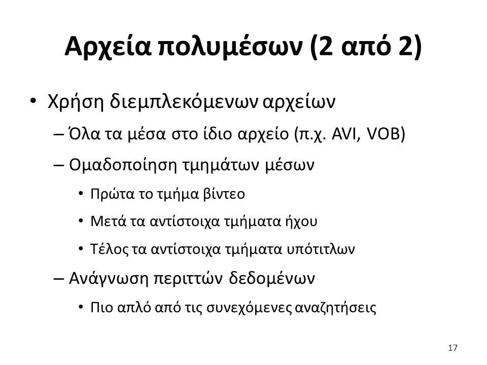 Αρχεία πολυμέσων (2 από 2) Χρήση διεμπλεκόμενων αρχείων – Όλα τα μέσα στο ίδιο αρχείο (π.χ.