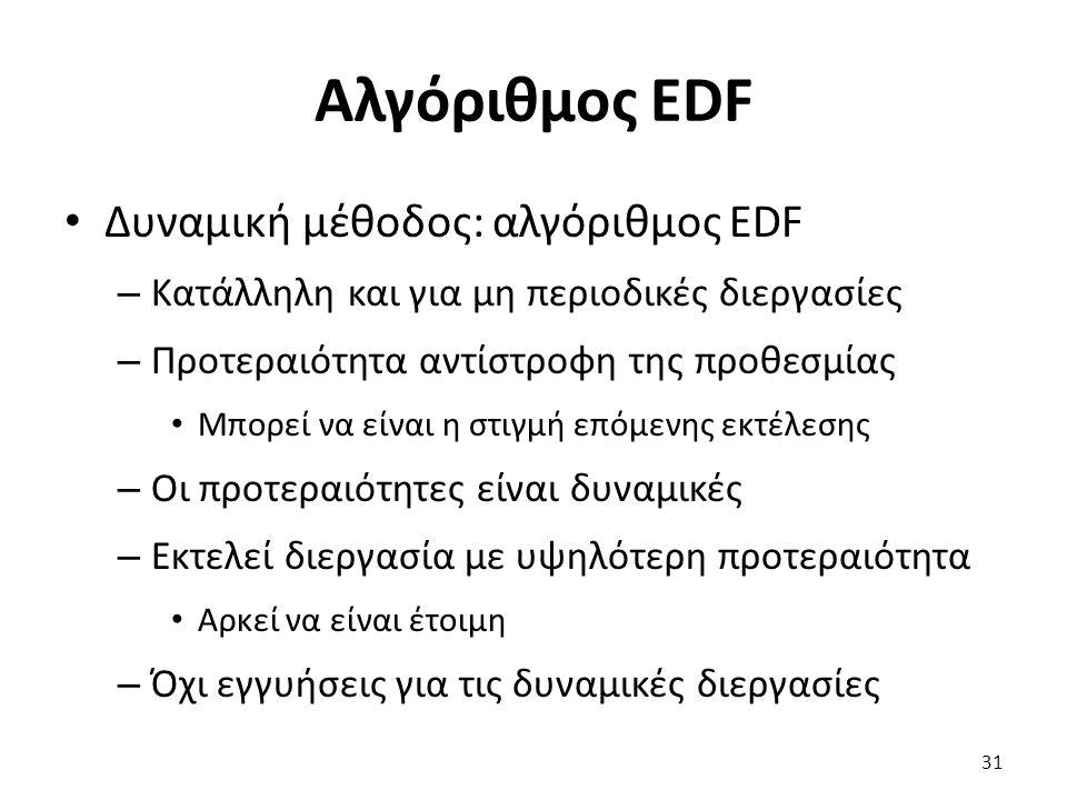 Αλγόριθμος EDF Δυναμική μέθοδος: αλγόριθμος EDF – Κατάλληλη και για μη περιοδικές διεργασίες – Προτεραιότητα αντίστροφη της προθεσμίας Μπορεί να είναι η στιγμή επόμενης εκτέλεσης – Οι προτεραιότητες είναι δυναμικές – Εκτελεί διεργασία με υψηλότερη προτεραιότητα Αρκεί να είναι έτοιμη – Όχι εγγυήσεις για τις δυναμικές διεργασίες 31