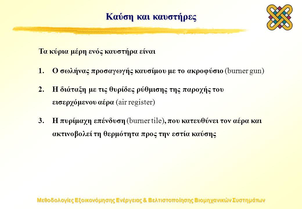 Μεθοδολογίες Εξοικονόμησης Ενέργειας & Βελτιστοποίησης Βιομηχανικών Συστημάτων Καύση και καυστήρες 1.Ο σωλήνας προσαγωγής καυσίμου με το ακροφύσιο (burner gun) 2.Η διάταξη με τις θυρίδες ρύθμισης της παροχής του εισερχόμενου αέρα (air register) 3.Η πυρίμαχη επένδυση (burner tile), που κατευθύνει τον αέρα και ακτινοβολεί τη θερμότητα προς την εστία καύσης Τα κύρια μέρη ενός καυστήρα είναι