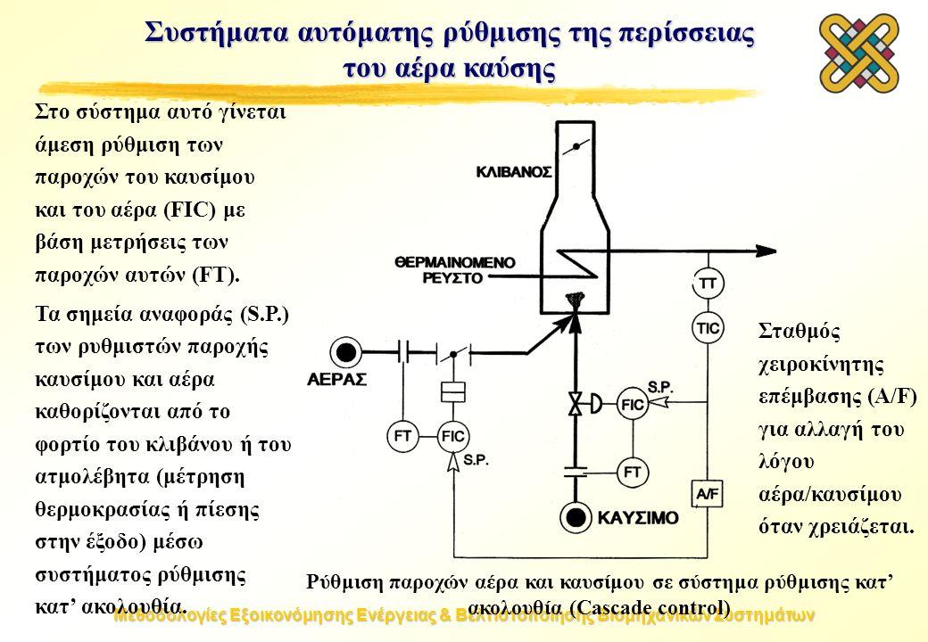 Μεθοδολογίες Εξοικονόμησης Ενέργειας & Βελτιστοποίησης Βιομηχανικών Συστημάτων Συστήματα αυτόματης ρύθμισης της περίσσειας του αέρα καύσης Ρύθμιση παροχών αέρα και καυσίμου σε σύστημα ρύθμισης κατ' ακολουθία (Cascade control) Στο σύστημα αυτό γίνεται άμεση ρύθμιση των παροχών του καυσίμου και του αέρα (FIC) με βάση μετρήσεις των παροχών αυτών (FT).