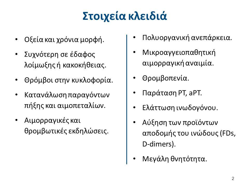 Αιμαγγειώματα Εντοπισμένη κατανάλωση των παραγόντων της πήξης και του ινωδογόνου.