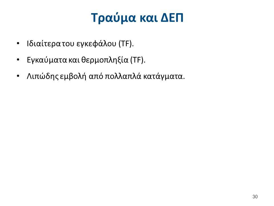 Τραύμα και ΔΕΠ Ιδιαίτερα του εγκεφάλου (TF). Εγκαύματα και θερμοπληξία (TF).