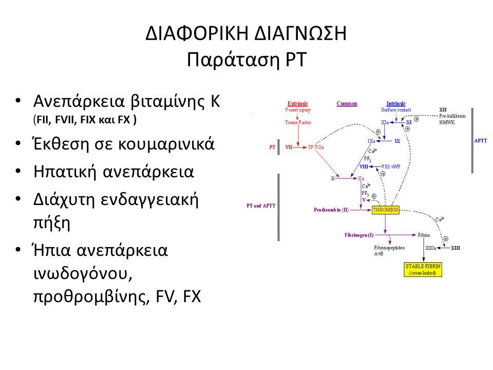 ΔΙΑΦΟΡΙΚΗ ΔΙΑΓΝΩΣΗ Παράταση ΡΤ Ανεπάρκεια βιταμίνης Κ (FII, FVII, FIX και FX ) Έκθεση σε κουμαρινικά Ηπατική ανεπάρκεια Διάχυτη ενδαγγειακή πήξη Ήπια ανεπάρκεια ινωδογόνου, προθρομβίνης, FV, FX
