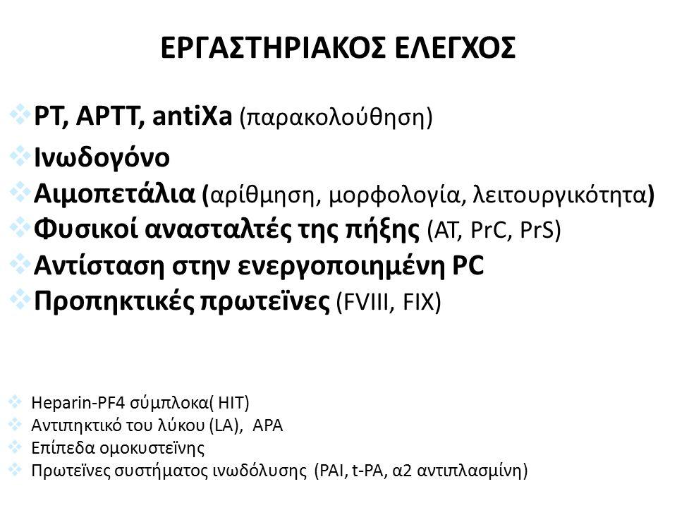 ΕΡΓΑΣΤΗΡΙΑΚΟΣ ΕΛΕΓΧΟΣ  PT, APTT, antiXa (παρακολούθηση)  Ινωδογόνο  Αιμοπετάλια (αρίθμηση, μορφολογία, λειτουργικότητα)  Φυσικοί ανασταλτές της πήξης (AT, PrC, PrS)  Αντίσταση στην ενεργοποιημένη PC  Προπηκτικές πρωτεïνες (FVIII, FIX)  Heparin-PF4 σύμπλοκα( HIT)  Aντιπηκτικό του λύκου (LA), APA  Επίπεδα ομοκυστεïνης  Πρωτεïνες συστήματος ινωδόλυσης (PAI, t-PA, α2 αντιπλασμίνη)