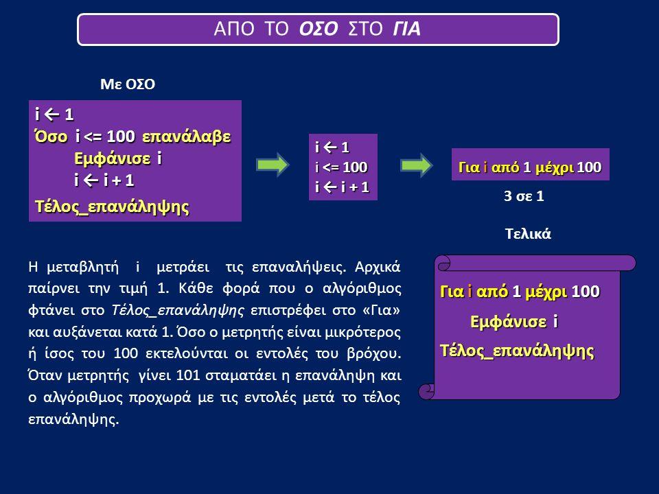 i ← 1 Όσο i <= 100 επανάλαβε Εμφάνισε i i ← i + 1 Τέλος_επανάληψης Η μεταβλητή i μετράει τις επαναλήψεις. Αρχικά παίρνει την τιμή 1. Κάθε φορά που ο α