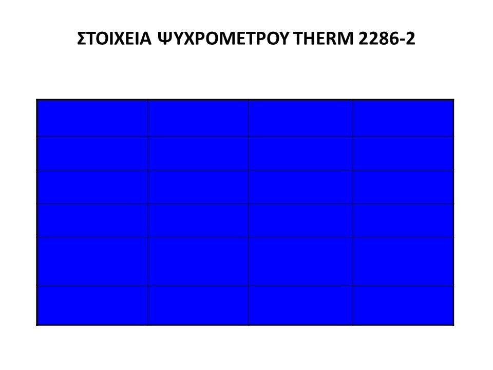 ΣΤΟΙΧΕΙΑ ΨΥΧΡΟΜΕΤΡΟΥ THERM 2286-2 ΠαράμετροςΕύροςΔιακριτικότηταΑκρίβεια Θερμοκρασία ξηρού βολβού -30 - +100 °C0,01 K0,05 K Θερμοκρασία υγρού βολβού -30 - +100 °C0,01 K0,05 K Σχετική υγρασία1 - + 100 %0,01 %1 % Θερμοκρασία σημείου δρόσου -25 - +100 °C0,1 K0,2 K Απόλυτη υγρασία 0 - +500 g/kg0,1 g/kg0,5 g/kg