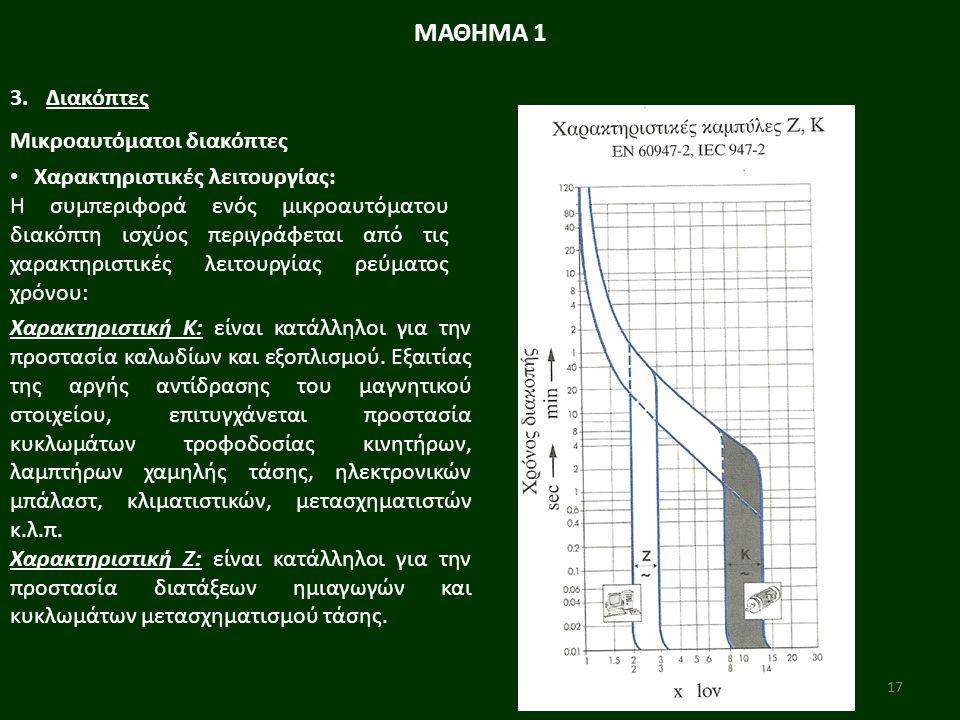 17 ΜΑΘΗΜΑ 1 3.Διακόπτες Μικροαυτόματοι διακόπτες Χαρακτηριστικές λειτουργίας: Η συµπεριφορά ενός µικροαυτόµατου διακόπτη ισχύος περιγράφεται από τις χαρακτηριστικές λειτουργίας ρεύµατος χρόνου: Χαρακτηριστική Κ: είναι κατάλληλοι για την προστασία καλωδίων και εξοπλισµού.