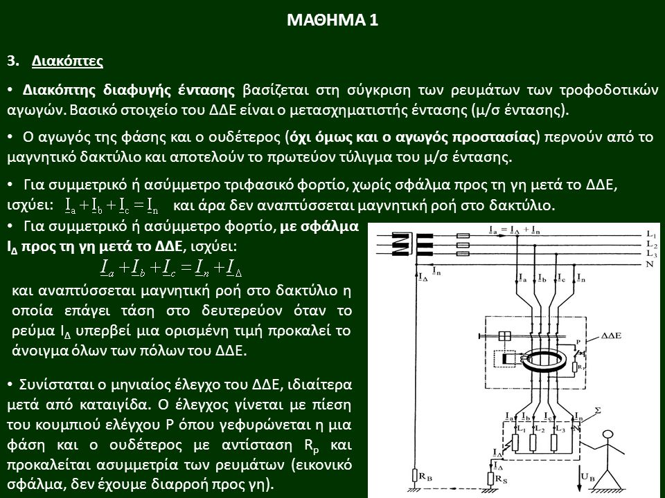 Για συμμετρικό ή ασύμμετρο τριφασικό φορτίο, χωρίς σφάλμα προς τη γη μετά το ΔΔΕ, ισχύει: και άρα δεν αναπτύσσεται μαγνητική ροή στο δακτύλιο.