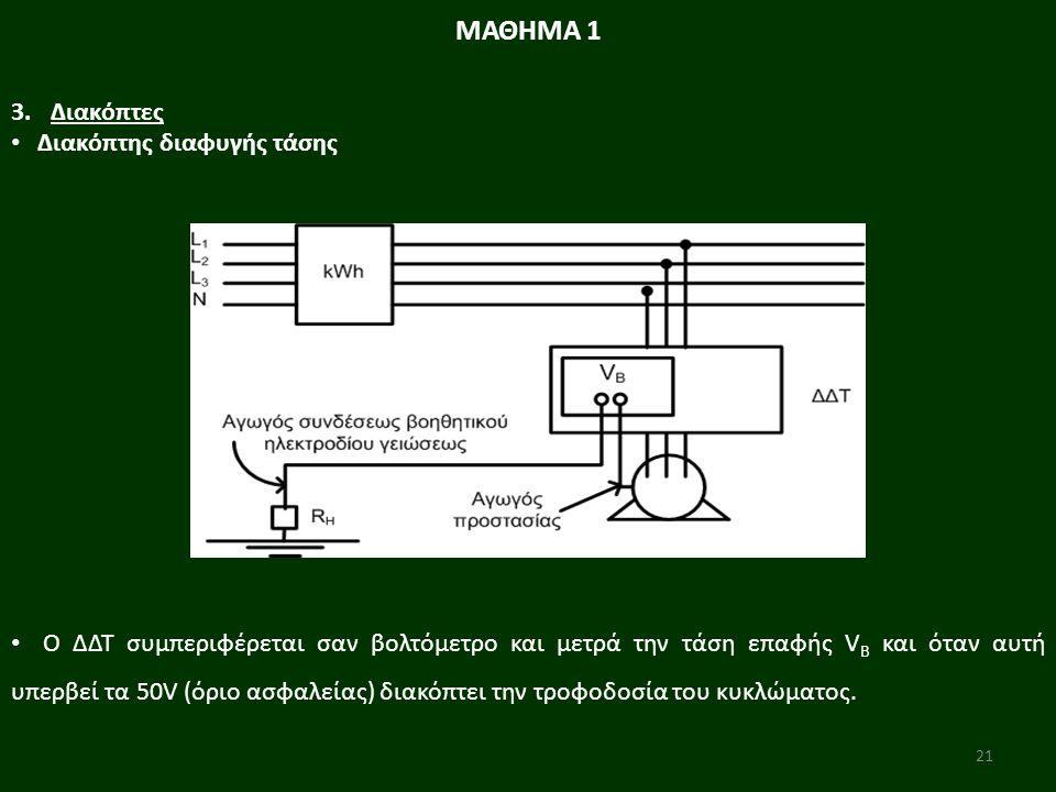 21 Ο ΔΔΤ συμπεριφέρεται σαν βολτόμετρο και μετρά την τάση επαφής V B και όταν αυτή υπερβεί τα 50V (όριο ασφαλείας) διακόπτει την τροφοδοσία του κυκλώματος.