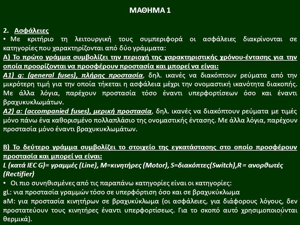 8 Υπάρχουν δύο είδη ασφαλειών: Α) Κοχλιωτές (βιδωτές): Αποτελούνται από: α) την ασφαλειοθήκη, β) τη μήτρα προσαρμογής, γ) το φυσίγγιο, δ) το πώμα.