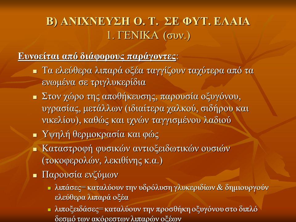 Β) ΑΝΙΧΝΕΥΣΗ Ο. Τ. ΣΕ ΦΥΤ. ΕΛΑΙΑ 1.