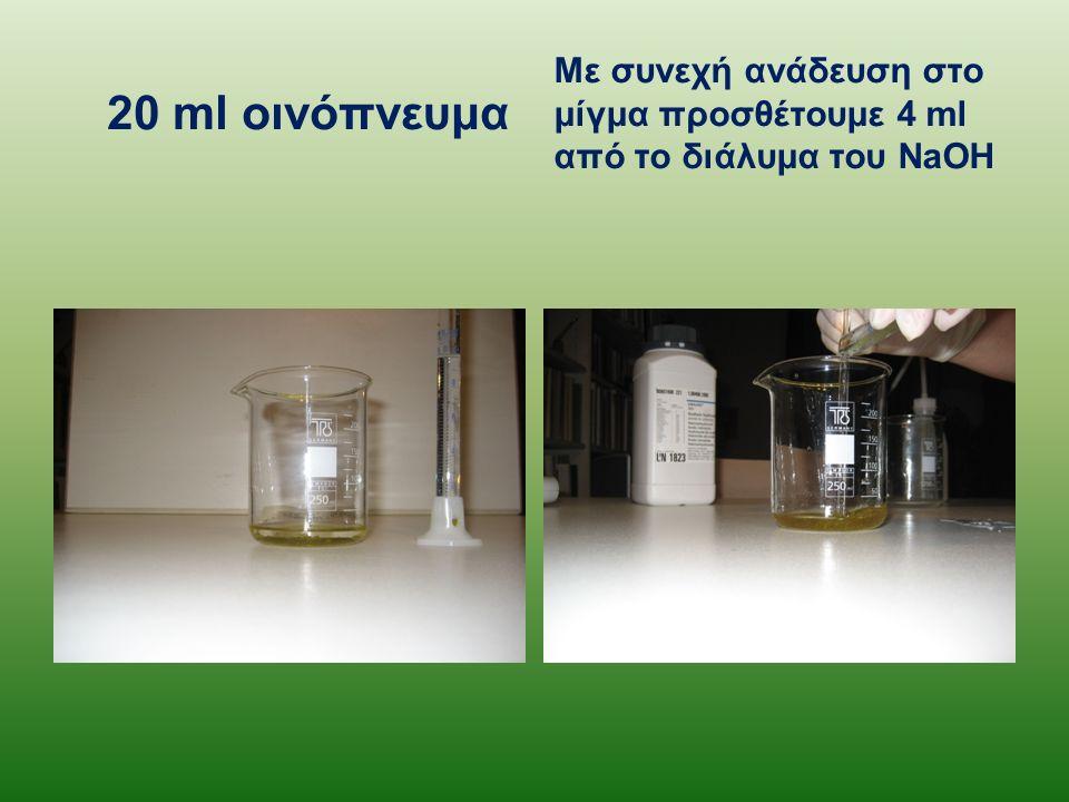 20 ml οινόπνευμα Με συνεχή ανάδευση στο μίγμα προσθέτουμε 4 ml από το διάλυμα του NaOH