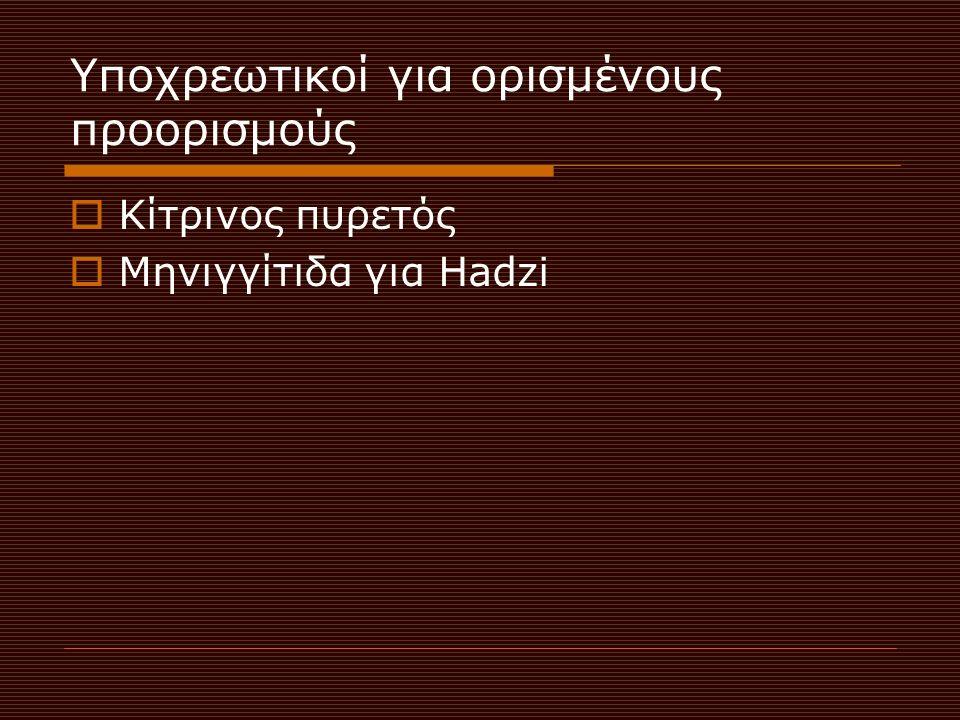 Υποχρεωτικοί για ορισμένους προορισμούς  Κίτρινος πυρετός  Μηνιγγίτιδα για Hadzi