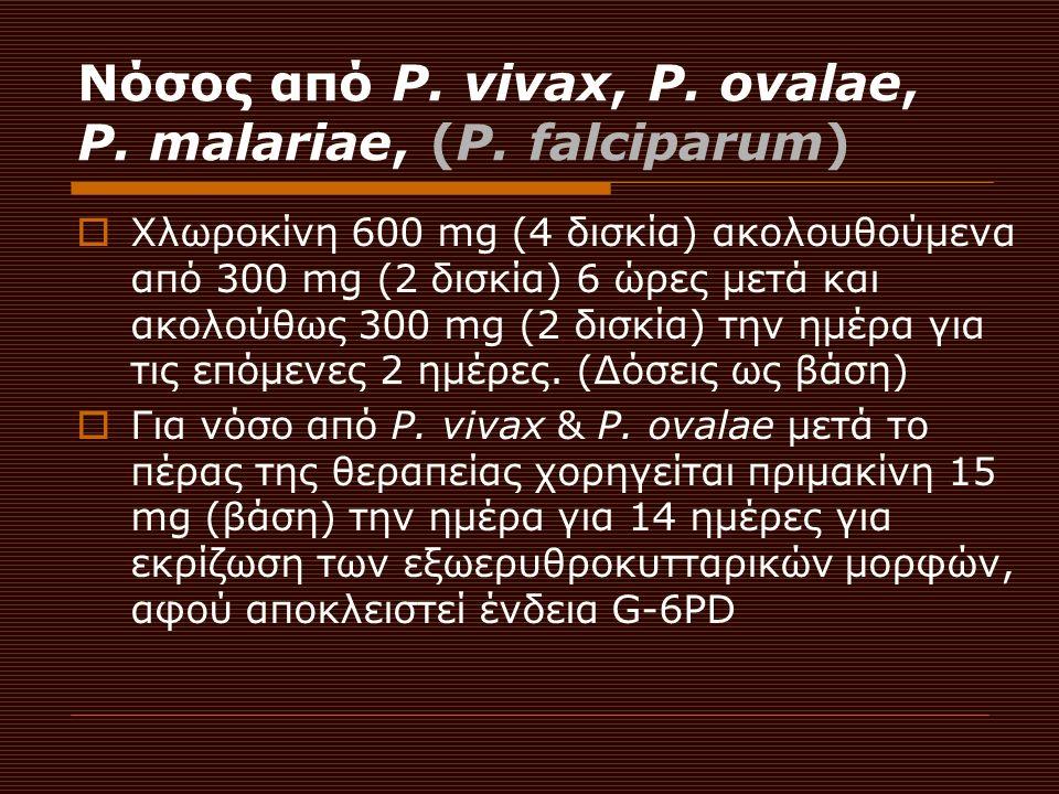 Νόσος από P. vivax, P. ovalae, P. malariae, (P.