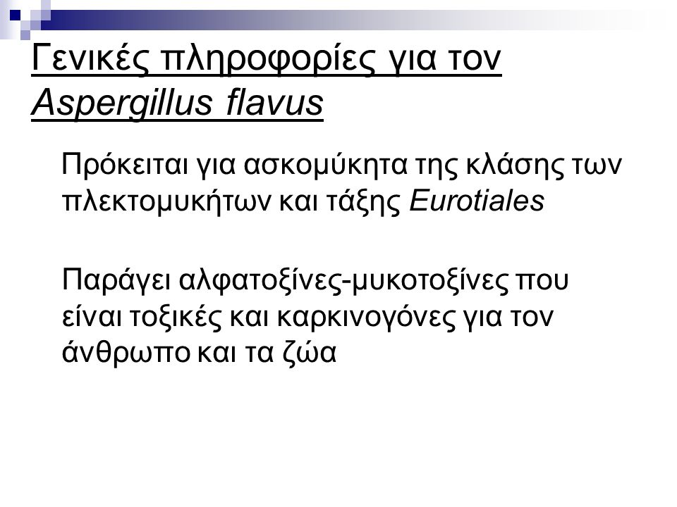 Γενικές πληροφορίες για τον Aspergillus flavus Πρόκειται για ασκομύκητα της κλάσης των πλεκτομυκήτων και τάξης Eurotiales Παράγει αλφατοξίνες-μυκοτοξίνες που είναι τοξικές και καρκινογόνες για τον άνθρωπο και τα ζώα
