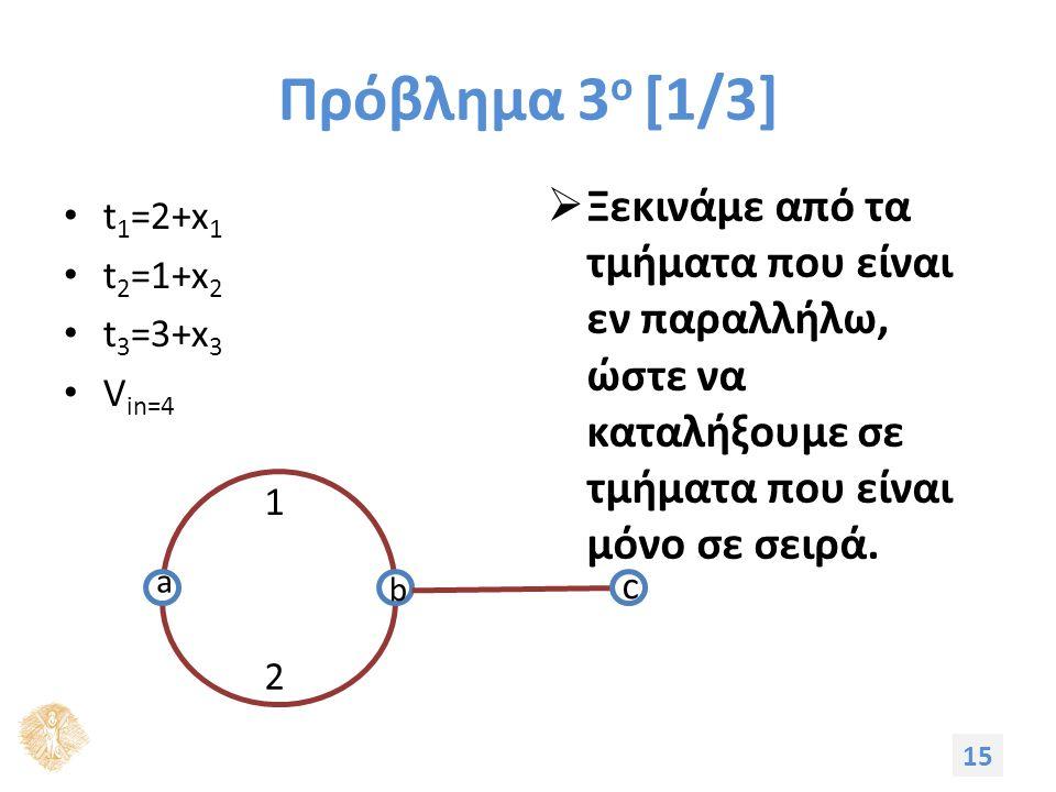 Πρόβλημα 3 ο [1/3] t 1 =2+x 1 t 2 =1+x 2 t 3 =3+x 3 V in=4  Ξεκινάμε από τα τμήματα που είναι εν παραλλήλω, ώστε να καταλήξουμε σε τμήματα που είναι μόνο σε σειρά.