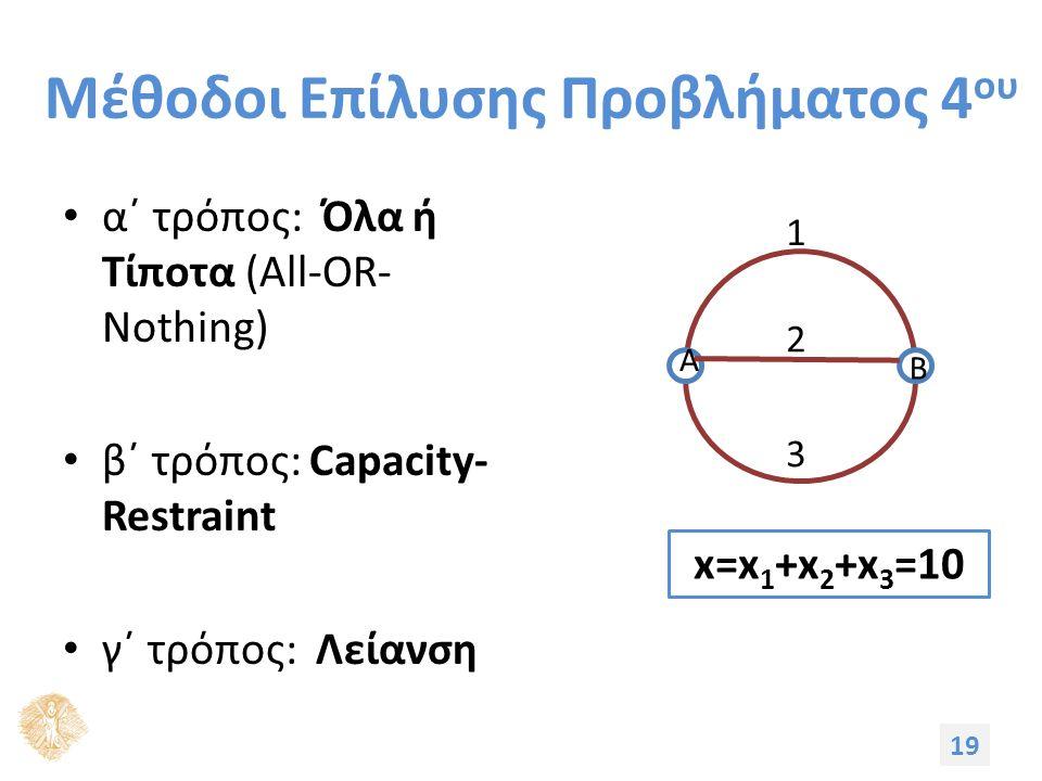 Μέθοδοι Επίλυσης Προβλήματος 4 ου α΄ τρόπος: Όλα ή Τίποτα (All-OR- Nothing) β΄ τρόπος: Capacity- Restraint γ΄ τρόπος: Λείανση 19 3 1 A B 2 x=x 1 +x 2 +x 3 =10