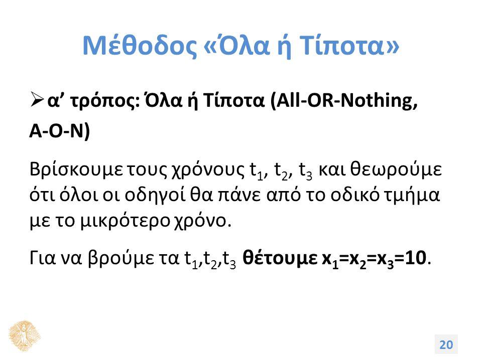 Μέθοδος «Όλα ή Τίποτα»  α' τρόπος: Όλα ή Τίποτα (All-OR-Nothing, Α-Ο-Ν) Βρίσκουμε τους χρόνους t 1, t 2, t 3 και θεωρούμε ότι όλοι οι οδηγοί θα πάνε από το οδικό τμήμα με το μικρότερο χρόνο.