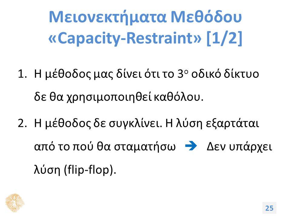 Μειονεκτήματα Μεθόδου «Capacity-Restraint» [1/2] 1.Η μέθοδος μας δίνει ότι το 3 ο οδικό δίκτυο δε θα χρησιμοποιηθεί καθόλου. 2.Η μέθοδος δε συγκλίνει.