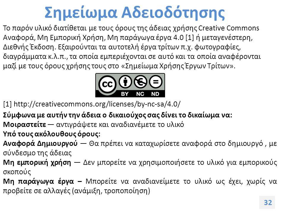 32 Σημείωμα Αδειοδότησης Το παρόν υλικό διατίθεται με τους όρους της άδειας χρήσης Creative Commons Αναφορά, Μη Εμπορική Χρήση, Μη παράγωγα έργα 4.0 [1] ή μεταγενέστερη, Διεθνής Έκδοση.