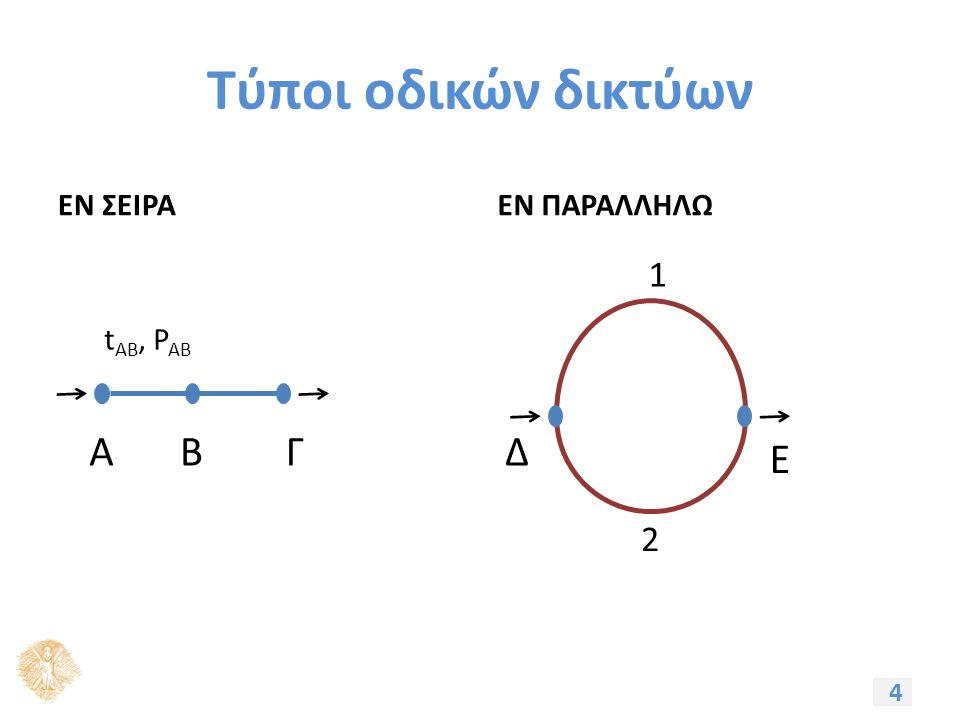 Τύποι οδικών δικτύων ΕΝ ΣΕΙΡΑΕΝ ΠΑΡΑΛΛΗΛΩ 4 ΑΒΓ t ΑΒ, P AB Δ Ε 2 1