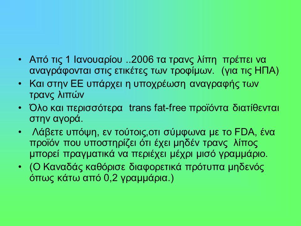 Από τις 1 Ιανουαρίου..2006 τα τρανς λίπη πρέπει να αναγράφονται στις ετικέτες των τροφίμων.