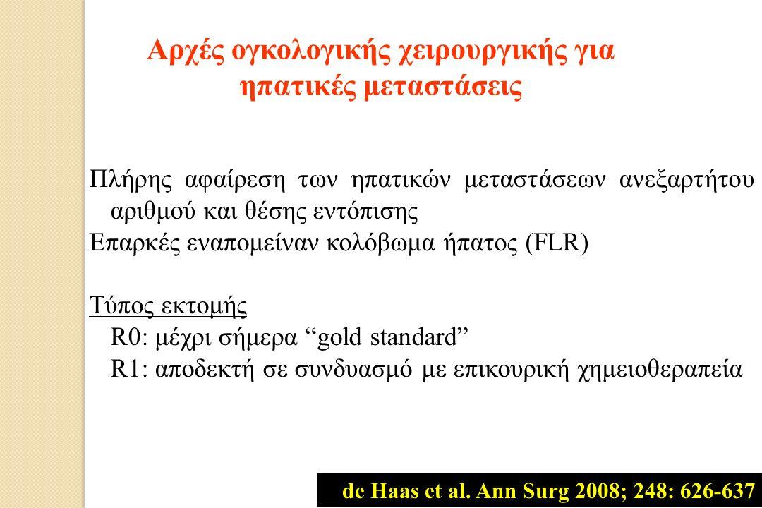 Πλήρης αφαίρεση των ηπατικών μεταστάσεων ανεξαρτήτου αριθμού και θέσης εντόπισης Επαρκές εναπομείναν κολόβωμα ήπατος (FLR) Τύπος εκτομής R0: μέχρι σήμερα gold standard R1: αποδεκτή σε συνδυασμό με επικουρική χημειοθεραπεία Αρχές ογκολογικής χειρουργικής για ηπατικές μεταστάσεις de Haas et al.