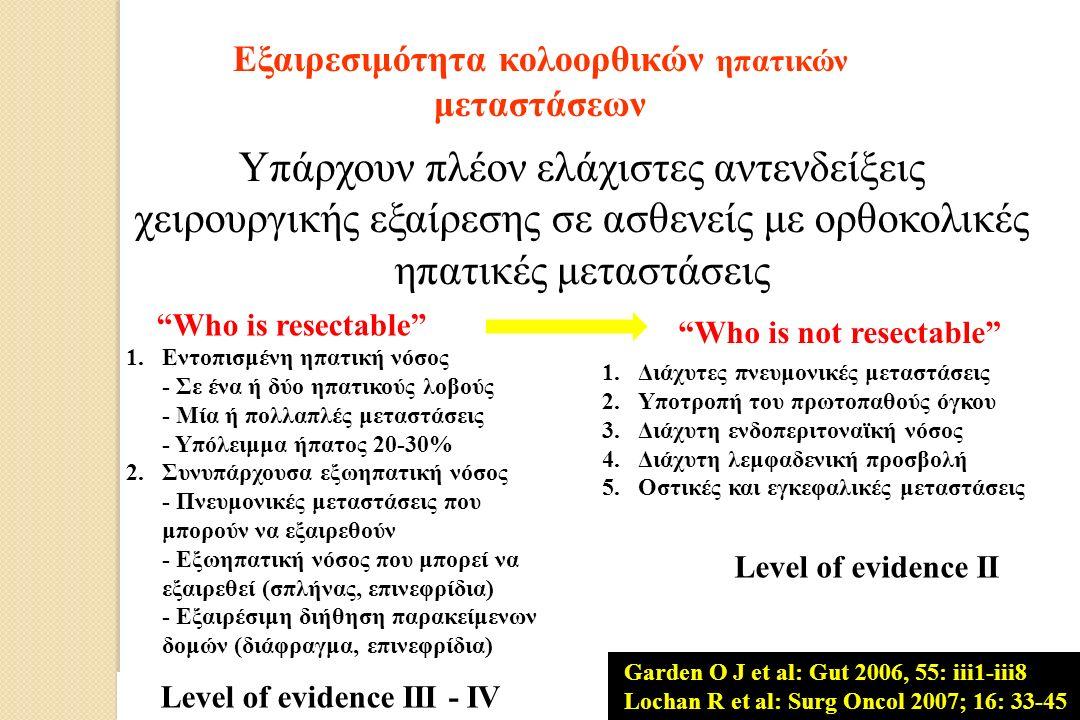 Εξαιρεσιμότητα κολοορθικών ηπατικών μεταστάσεων Υπάρχουν πλέον ελάχιστες αντενδείξεις χειρουργικής εξαίρεσης σε ασθενείς με ορθοκολικές ηπατικές μεταστάσεις Who is resectable Who is not resectable 1.Διάχυτες πνευμονικές μεταστάσεις 2.Υποτροπή του πρωτοπαθούς όγκου 3.Διάχυτη ενδοπεριτοναϊκή νόσος 4.Διάχυτη λεμφαδενική προσβολή 5.Οστικές και εγκεφαλικές μεταστάσεις Level of evidence II 1.Εντοπισμένη ηπατική νόσος - Σε ένα ή δύο ηπατικούς λοβούς - Μία ή πολλαπλές μεταστάσεις - Υπόλειμμα ήπατος 20-30% 2.Συνυπάρχουσα εξωηπατική νόσος - Πνευμονικές μεταστάσεις που μπορούν να εξαιρεθούν - Εξωηπατική νόσος που μπορεί να εξαιρεθεί (σπλήνας, επινεφρίδια) - Εξαιρέσιμη διήθηση παρακείμενων δομών (διάφραγμα, επινεφρίδια) Level of evidence IIΙ - IV Garden O J et al: Gut 2006, 55: iii1-iii8 Lochan R et al: Surg Oncol 2007; 16: 33-45